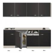 Keuken Kitchenette Faro Antraciet met koelkast en vaatwasser 210cm HRG-5385
