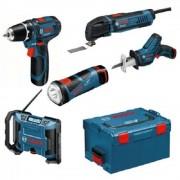 KIT 5 scule Bosch 10,8 V Li-ion - GSR 10,8-2-LI, GSA 10,8 V-LI, GML 10,8 V-LI, GOP 10,8 V-LI, GLI 10,8 V-LI ,0615990EW8
