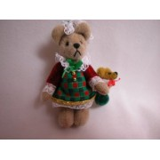 "World of Miniature Bears 2.75"" Plush Christmas Bear Holly #611 Collectible Miniature Bear Made by Ha"