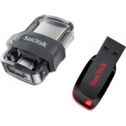 SanDisk Dual 3.0 OTG + Cruzer Blade Flash Drive Usb 64 GB Pen Drive(Multicolor)