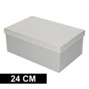Geen Zilver glitter cadeaudoosje 24 cm rechthoekig