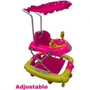 Oh Baby Baby Car Shape Adjustable Walker 9 in 1 Function With Musical Light Pink Color Walker For Your Kids SE-W-69