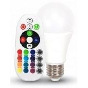 V-TAC E27 6W 470lm 4000K 200 ° RGB LED-izzó távirányítós