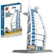 Little Treasures Burj Al Arab Hotel Of Dubai located in the United Arab Emirates Building Blocks 1307Pcs set - world's great architecture series landmark - compatible with other building bricks brands