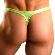 Lookme Metallic Silver Bulge G String Underwear Green 82-57