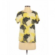 Ann Taylor LOFT Short Sleeve Blouse: Yellow Tropical Tops - Size Small Petite