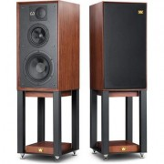 Wharfedale Linton RM pair stand mount spkrs + stands Red Mahogany