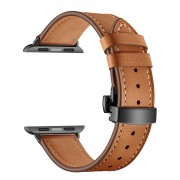 Genuine Leather Watch Band Replacement Strap for Apple Watch Series 4 5 44mm/ Series 1 2 3 42mm - Black Buckle/Light Brown