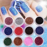 12 PCS MIX COLOR GLITTER DUST POWDER SET for Nail Art ACRYLIC TIPS DECORATION NAILART