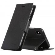 Apple MERCURY GOOSPERY FANCY dagboek horizontale Flip lederen hoes for iPhone XS Max, met houder & Card Slots & Wallet(Black)