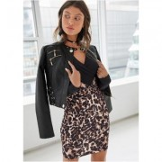 Faux Leather Lace UP Jacket Jackets & Coats - Black