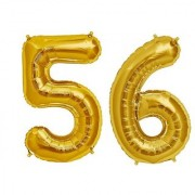 De-Ultimate Solid Golden Color 2 Digit Number (56) 3d Foil Balloon for Birthday Celebration Anniversary Parties