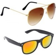 Elgator Aviator, Wayfarer Sunglasses(Brown, Yellow)