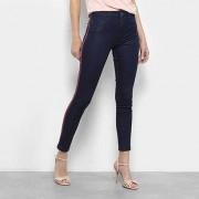 Calça Jeans Skinny Biotipo Cintura Média Faixa Lateral Feminina - Feminino-Azul Escuro