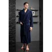 Five Wien Классический длинный мужской халат из бамбука синего цвета Five Wien FW1026 Синий распродажа