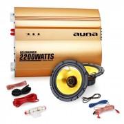 "Auna 2.0""Golden Race V1"" Set HiFi coche amplificador altavoces"