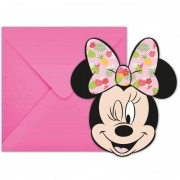Disney 6x Disney Minnie Mouse feestartikelen uitnodigingen 11 cm papier/karton