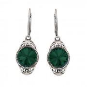 Kolczyki srebrne oksydowane Swarovski Elements K 2067 : Kolor - Emerald