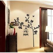 Jaamso Royals 'Black birdcage in tree' Wall Sticker (PVC Vinyl 90 cm X 60 cm Decorative Stickers)