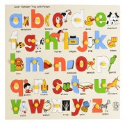 Skillofun Wooden Lower Alphabet Tray with Picture with Knobs, Multi Color