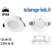 Spot LED encastrable aluminium blanc milieu humide IP44 perçage 75mm ref smh-3