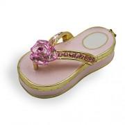 "Objet DArt Release #218 ""Flip Flop"" Beach Sandal Handmade Jeweled Enameled Metal Trinket Box"