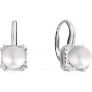 JwL Luxury Pearls Stříbrné náušnice s bílou perlou a zirkony JL0594