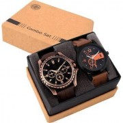 TRUE CHOICE TC 11 AND LOREM BRWON LEATHER BEALT LOVE COMBO ANALOG WATCH FOR MEN BOYS.