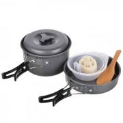 Portatil de camping al aire libre que cocina pote conjunto - gris negro (2 ~ 3 personas)