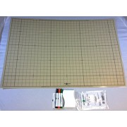 "Battle Grid Game Mat, Dry Erase, Sandstone, 24"" X 36"" with 3 Markers and Eraser: Double-Sided, 1"" sq"