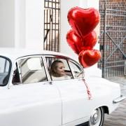 "Szív alakú piros fólia lufi, 24""/61cm"