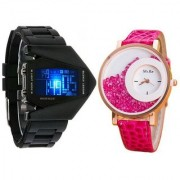 i DIVA'S LED Rocket Black and Mxre Pink Analog Couple Watches for Men and Women