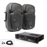 """Electronic-Star Conjunto PA """"SPJ Boom 10MKII"""" 2 altavoces de 25cm y amplificador 800W (PL-7575-6061)"""