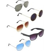 Zyaden Aviator, Aviator, Aviator, Wayfarer, Round Sunglasses(Green, Brown, Blue, Blue, Black)