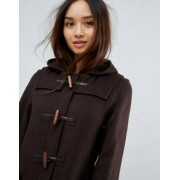Gloverall Fitted Pannelled Wool Blend Duffle Coat - Brown