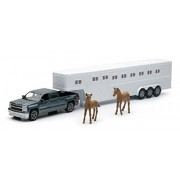 1:43 Scale Chevrolet Silverado with Horse Trailer Includes 2 horses