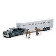 1:43 Scale Chevrolet Silverado with Horse Trailer Includes 2 horses