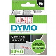 Dymo D1 Labelling Tape 45015 Red on White 12 mm x 7 m