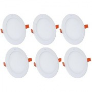 Alpha 3 Watt round Ceiling LED Panel Light (Pack of 6 Lights)