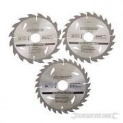 TCT cirkelzaagblad, 16, 24, 30 tanden, 3 stuks, 160 x 30 - 20, 16 en 10 mm ringen