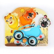 Baby Einstein - Jucarie de lemn Hape Friendly Safari Puzzle