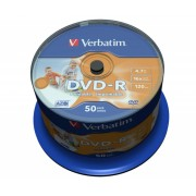 DVD-R Verbatim SL 16X 4.7GB 50PK SPINDLE WIDE INKJET PRINTABLE NO ID (43533)