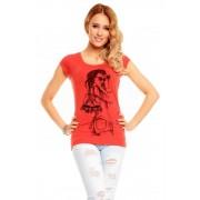 Dámské cihlově červené tričko s potiskem
