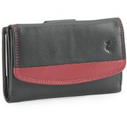 Ft Genuine Leather Black Color With Cheery Color On Upper Formal Wallet For Women