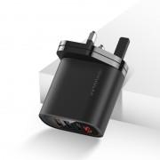 KUULAA QC3.0+PD 30W Fast Charger Travel USB Wall Charger Adapter with 3 USB Outputs and Digital Display - Black / UK Plug