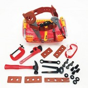 Apontus Toy Power Tools Construction Tool Box for Kids with 31 Pcs Pretend Play Tools