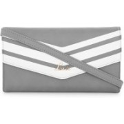 Lavie Women Casual Grey, White Artificial Leather Wallet(4 Card Slots)