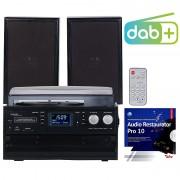 auvisio 5in1-Plattenspieler mit DAB+/FM-Radio, Bluetooth, CD/Kassetten-Player
