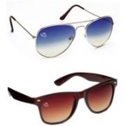 Aventus Aviator, Wayfarer Sunglasses(Blue, Brown)