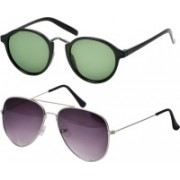 Freny Exim Aviator, Round Sunglasses(Green, Violet)